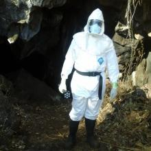 Prof Hang'ombe entering a cave where a Borrelia case was first documented.