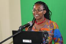 Director of Science and Technology Mrs. Jane Chikusu reading a speech on behalf of the Permanent Secretary of Ministry of Higher Education, during the ISAB meeting – December 2019
